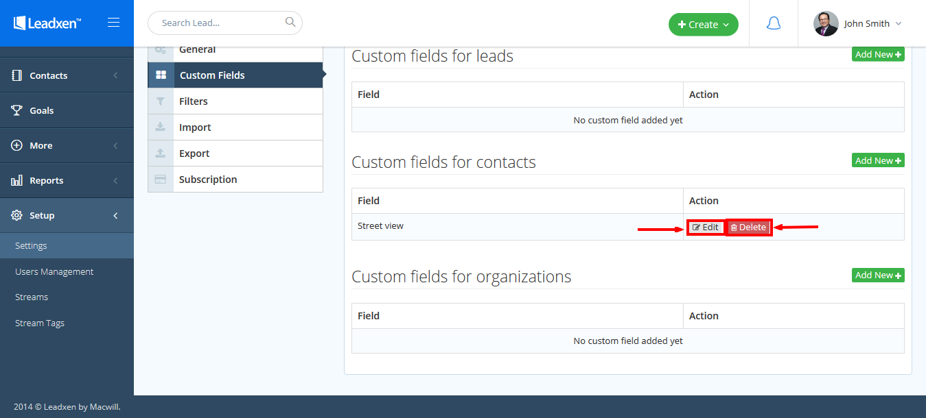 Add edit and delete custom field for contacts - Edit and Delete